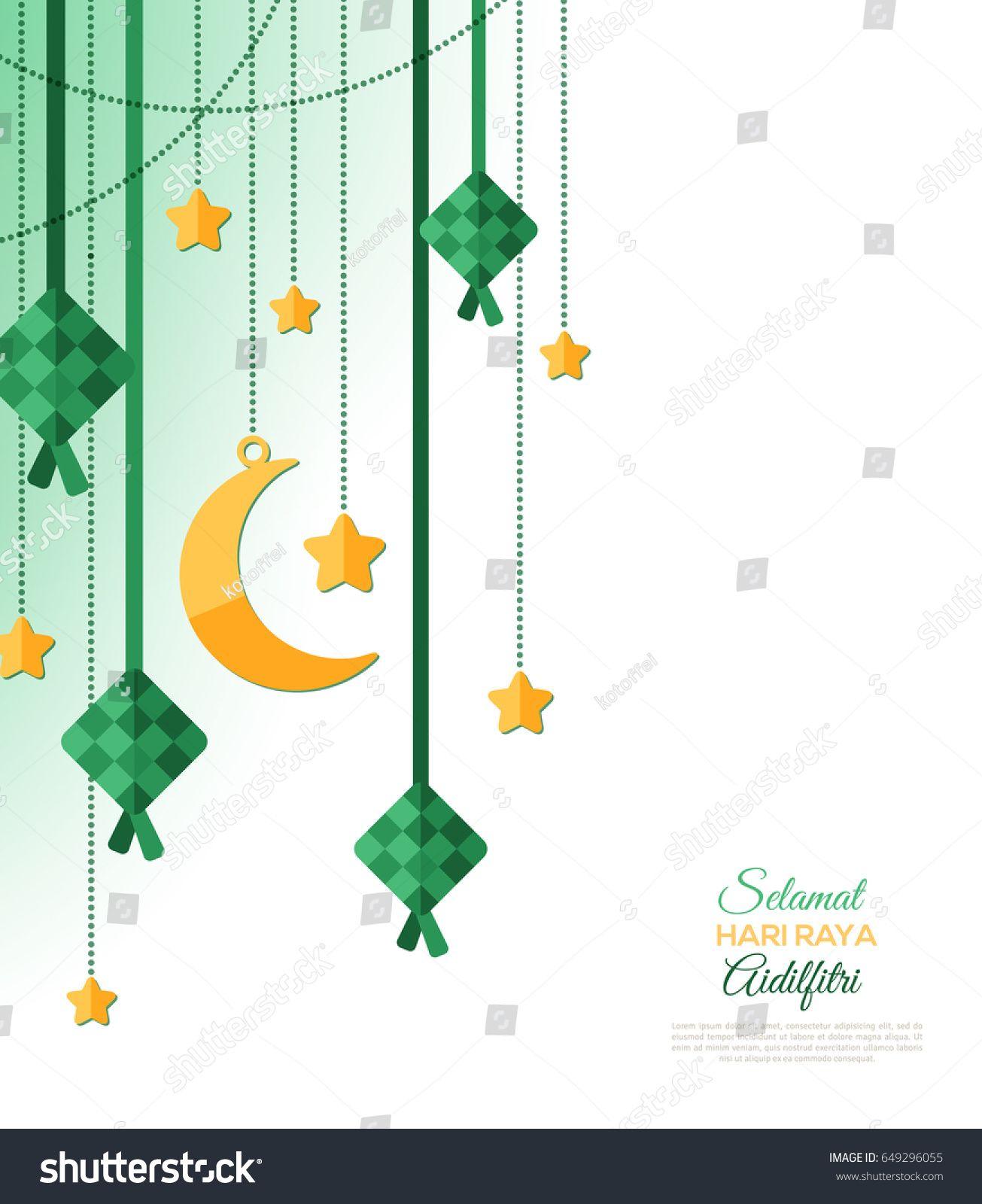 Selamat Hari Raya Aidilfitri Greeting Card Vector Illustration Hanging Ketupat And Crescent Eid Card Designs Envelope Design Inspiration Greeting Card Design
