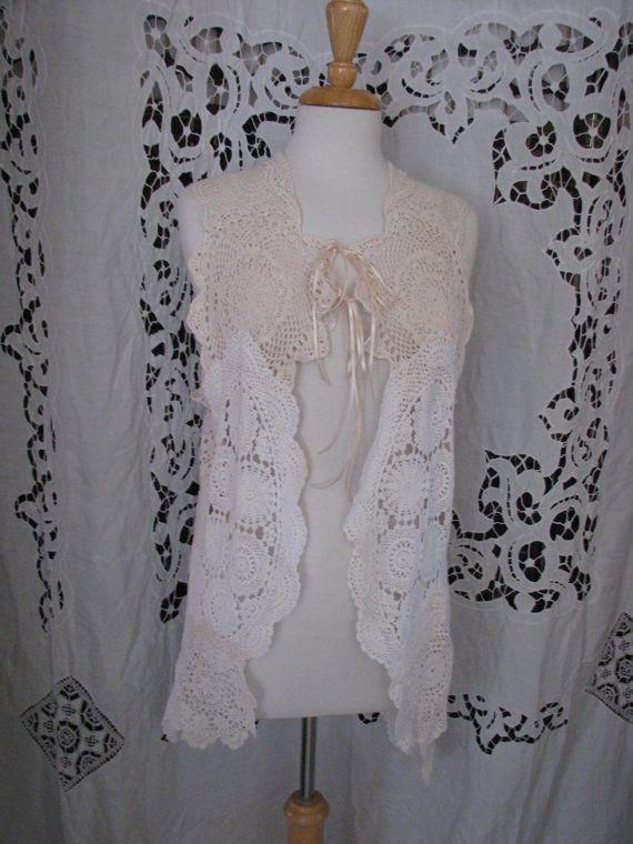 GYPSY PEARL hi low waistcoat vest vintage doily magnolia pearl style boho