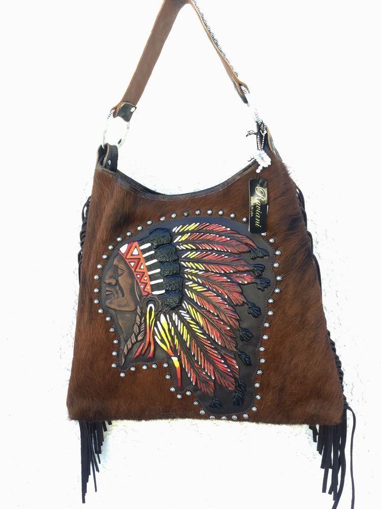 e89751cfe967 Raviani Western Leather Handbag Fringe Purse w/ Painted Native ...