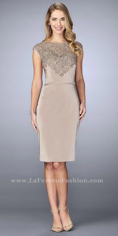 e84629cdef43 Beaded Lace Cap Sleeve Jersey Cocktail Dress by La Femme Dresses