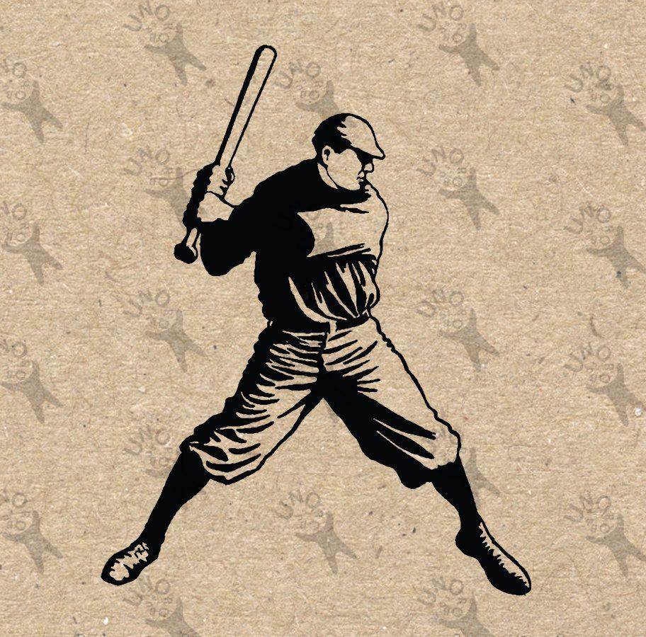 Vintage Baseball Player image Instant Download printable ...