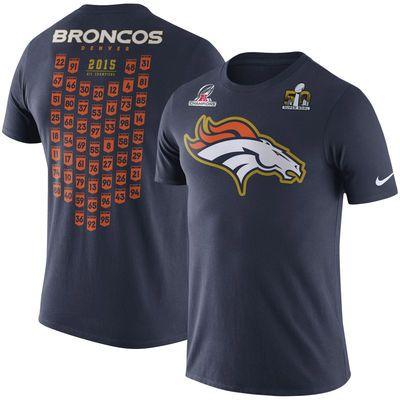 Men s Nike Navy Denver Broncos Super Bowl 50 Bound Roster T-Shirt - Official  Denver Broncos Shop 20d151f52