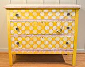 Vintage Hand Painted Yellow Check 3 Drawer Chest