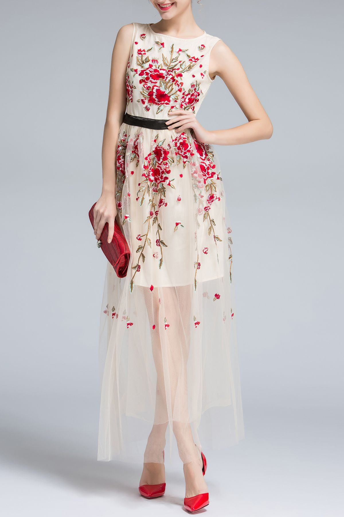 Floral Embroidery Sleeveless Voile Maxi Dress Designer Dresses Online Embroidered Maxi Dress Maxi Dress