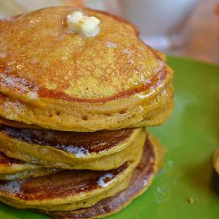 Pumpkin Pancakes Recipe Breakfast and Brunch with whole wheat flour, all-purpose flour, brown sugar, baking powder, salt, baking soda, cinnamon, clove, ginger, large eggs, buttermilk, vanilla, pumpkin, butter, pure maple syrup