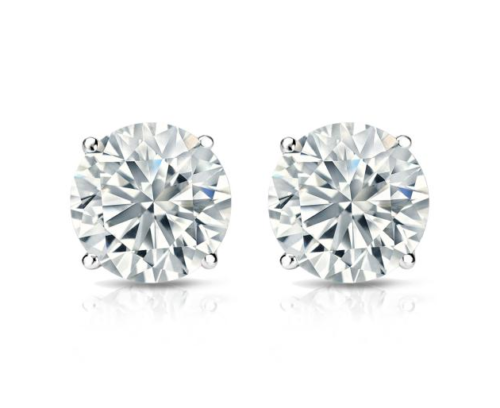 2Ct Round Cut Black Diamond Solitaire Stud Earrings Solid 14k White Gold Finish