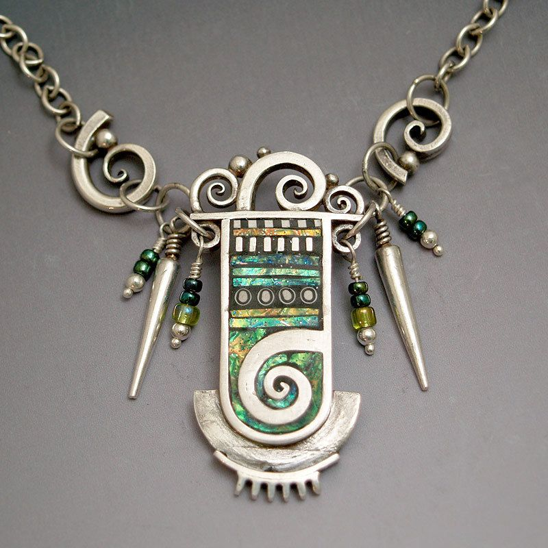 Necklace    Liz Hall ~ LizardJewelry.  Combining silver with Polymer clay and iridescent mediums