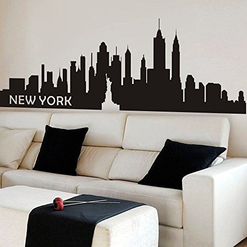 Skyline Wall Decals Give You The View Without The Hassle Of Painting Wall Decor Living Room Wall Stickers New York Cool Dorm Rooms