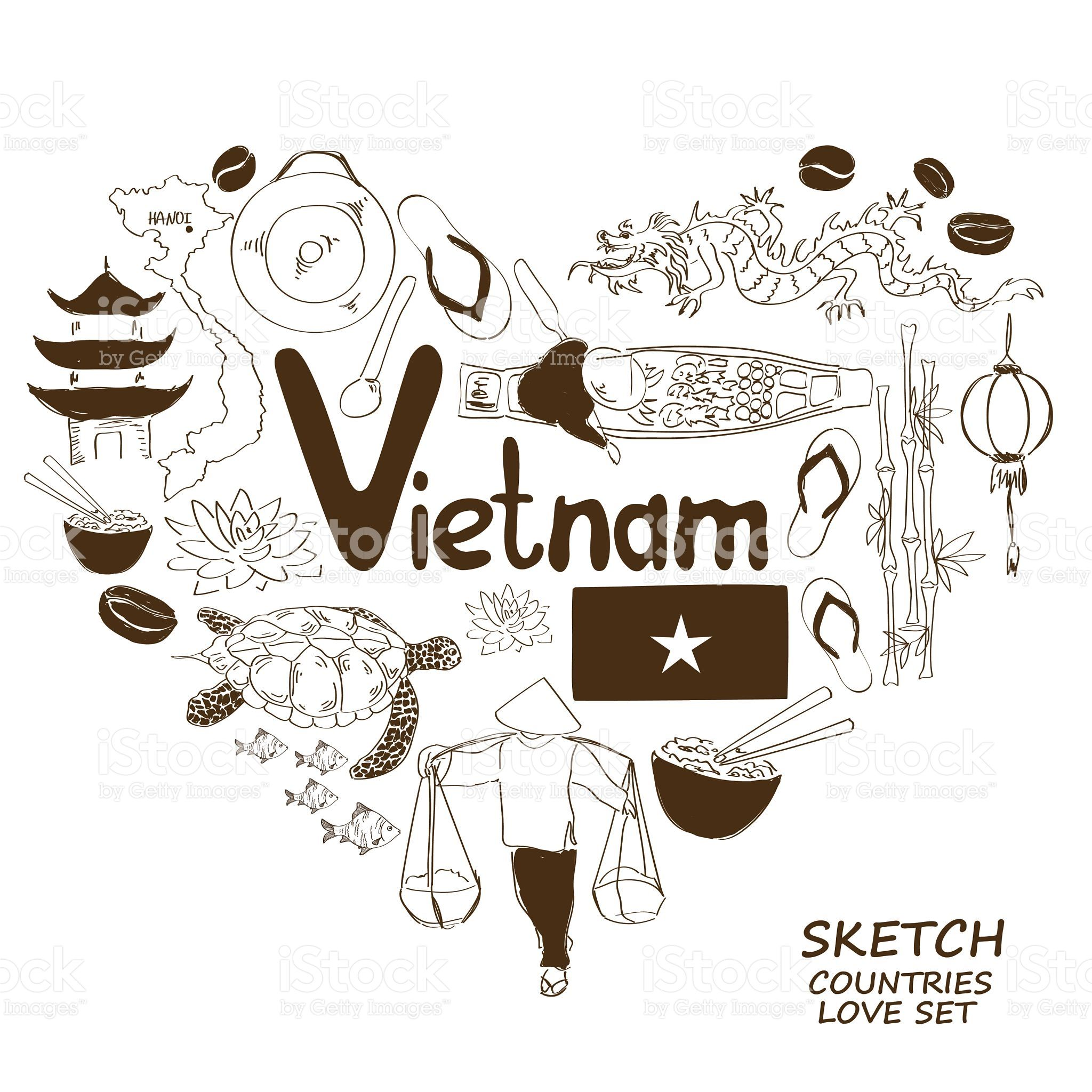 Colorful Sketch Collection Of Vietnamese Symbols Heart Shape