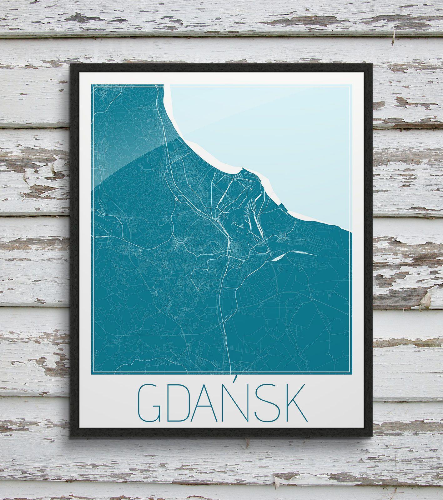 Plakat - mapa - Gdańsk  Gdzie kupić? www.eplakaty.pl