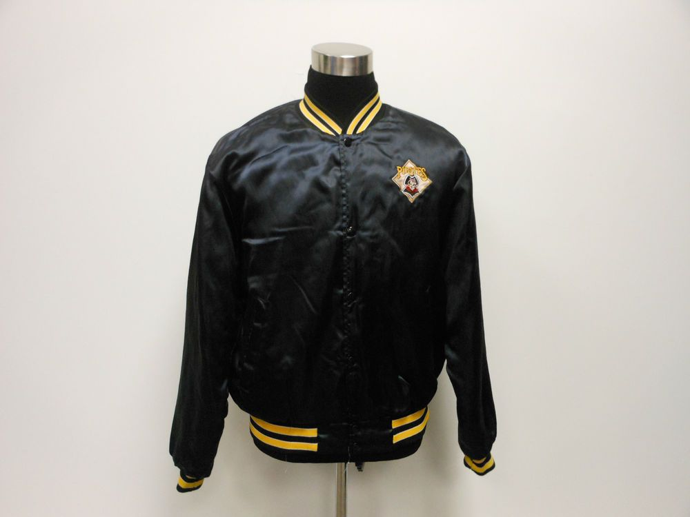 Vtg Swingster Pittsburgh Pirates Button Up Sating Dugout Jacket L Large SEWN MLB #Swingster #PittsburghPirates  #tcpkickz