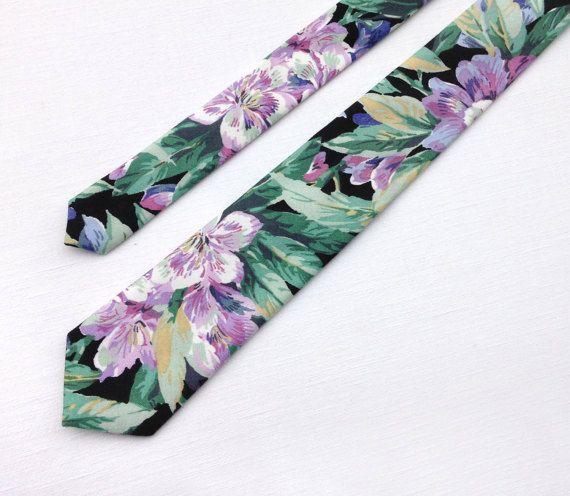 Floral Tie Green Tie Purple Floral Necktie By Kristinebridal Green Purple Lavender Floral Cotton Tie Necktie Wedding Floral Tie Skinny Ties Floral