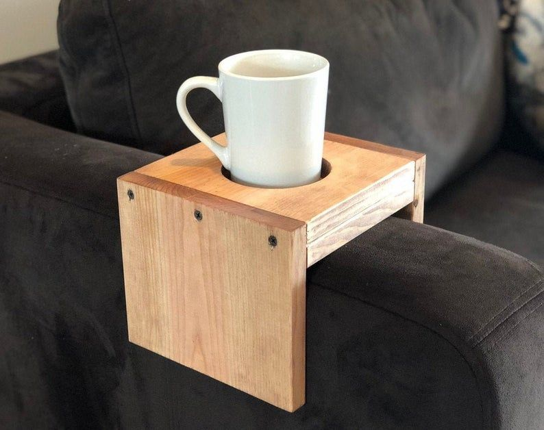 Wooden Cup Holder Arm Rest Table Tray Cup Cozy Etsy Tray Table Sofa Arm Table Couch Arm Table