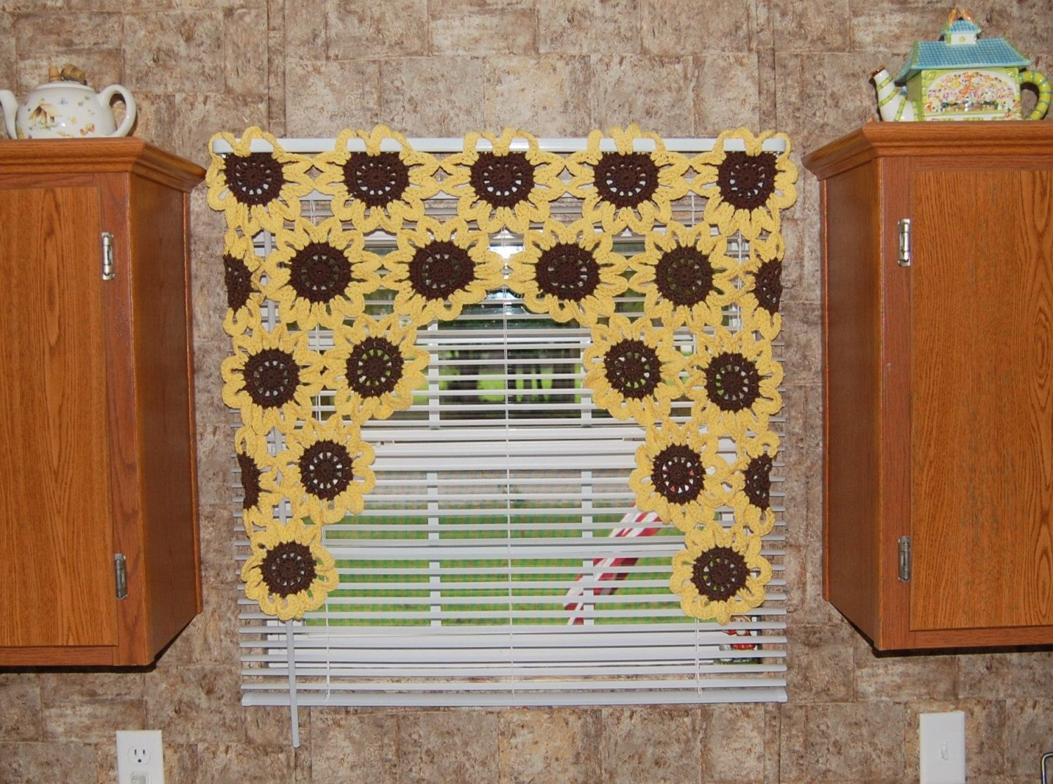 Sunflower Window Valance - Sunflower Curtain - Crochet Flower ...