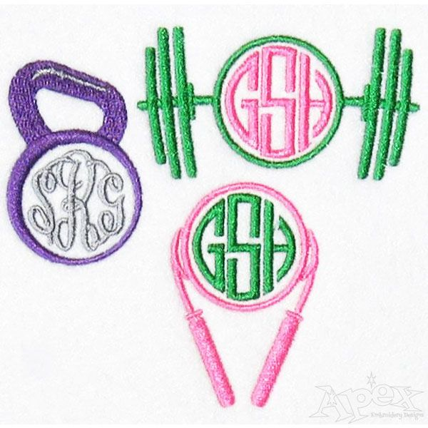 Gym Fitness Workout Monogram Frame Embroidery Designs You Get Three
