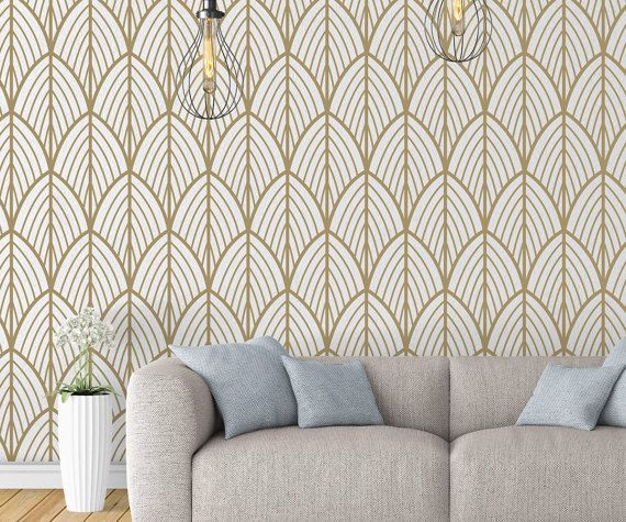 Art Deco Leaves Wallpaper Outlines Mid Century