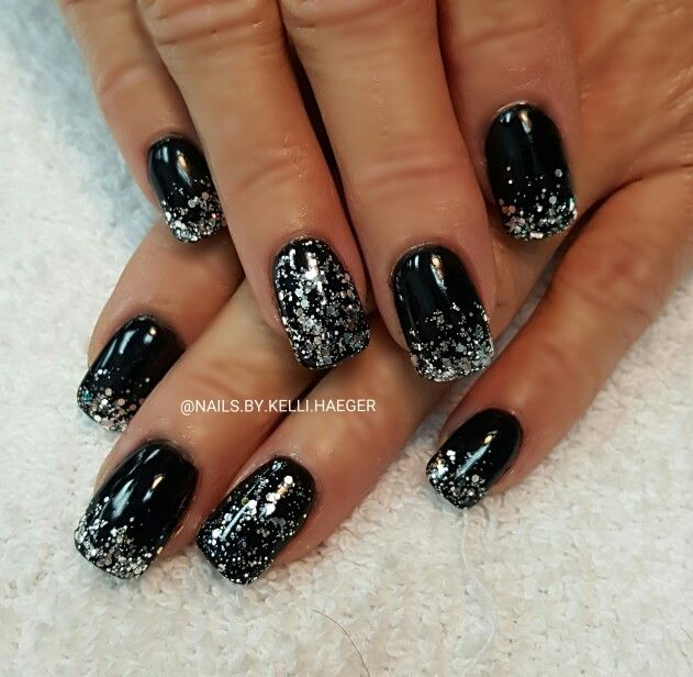 Black and silver nails | Prom Makeup | Pinterest | Silver ...