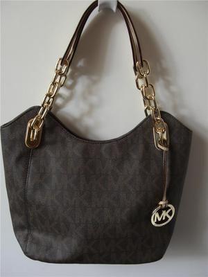 baf90f526347ac Michael Kors Lilly Chain Monogram Signature PVC Brown Medium Tote Bag | eBay