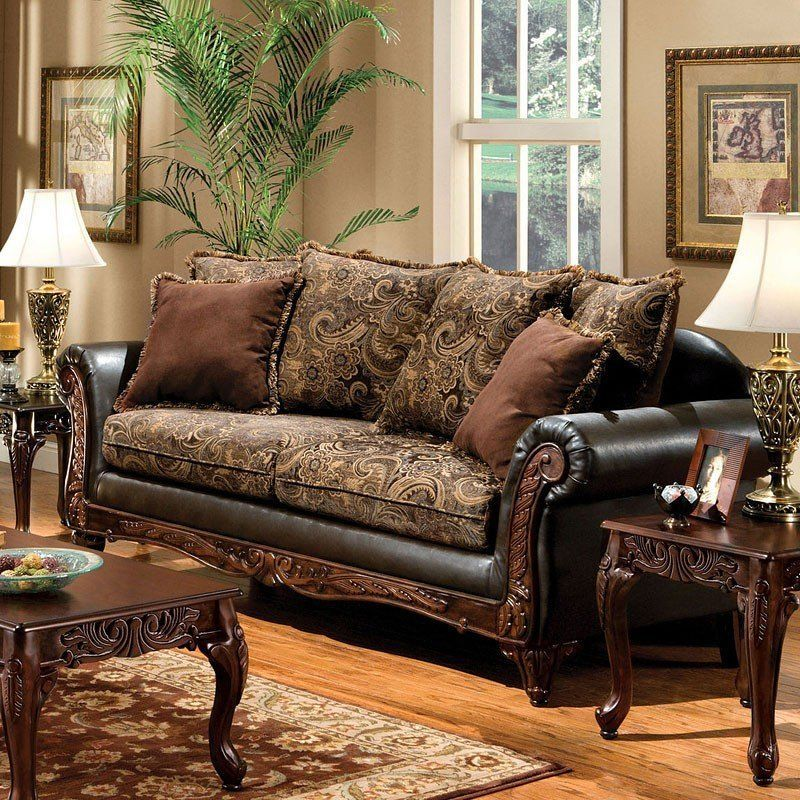 This Traditional Rotherham Living Room Collection By Furniture Of America Features Carved Woo Brown Living Room Decor Brown Living Room Traditional Living Room