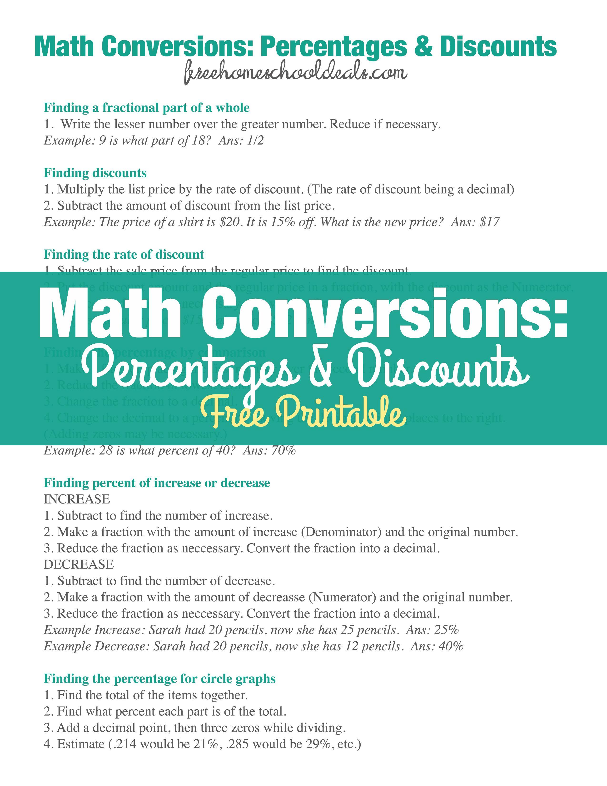 Free Math Conversions Percent Amp Discounts Printable Cheat