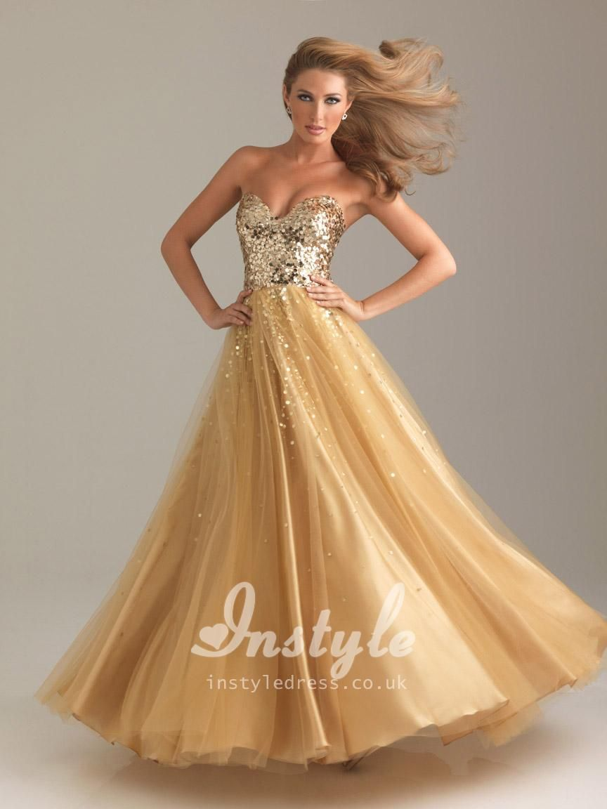 Sparkle gold sequin sweetheart strapless a line floor length prom