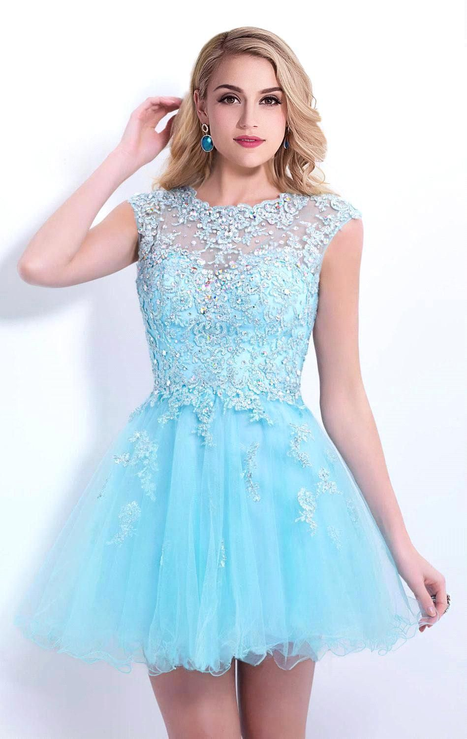 Hot Sale Cap Sleeve Blue Beaded Lace Short Homecoming Dresses 2015 ...