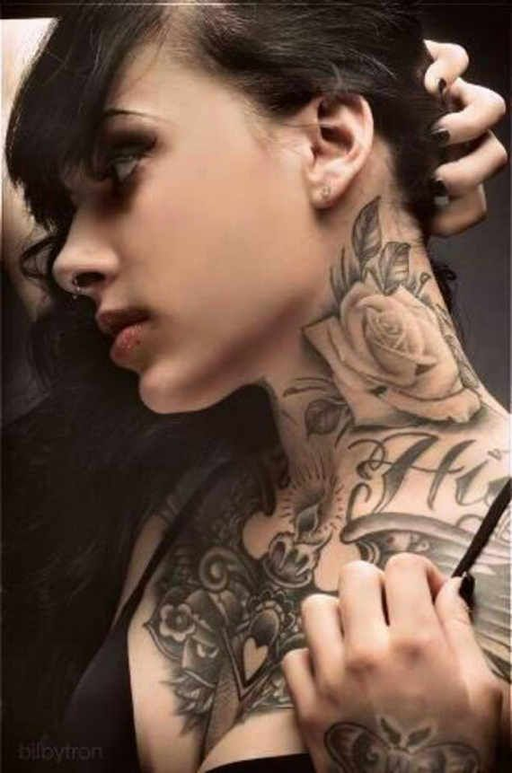 Sexy neck tattoos for women