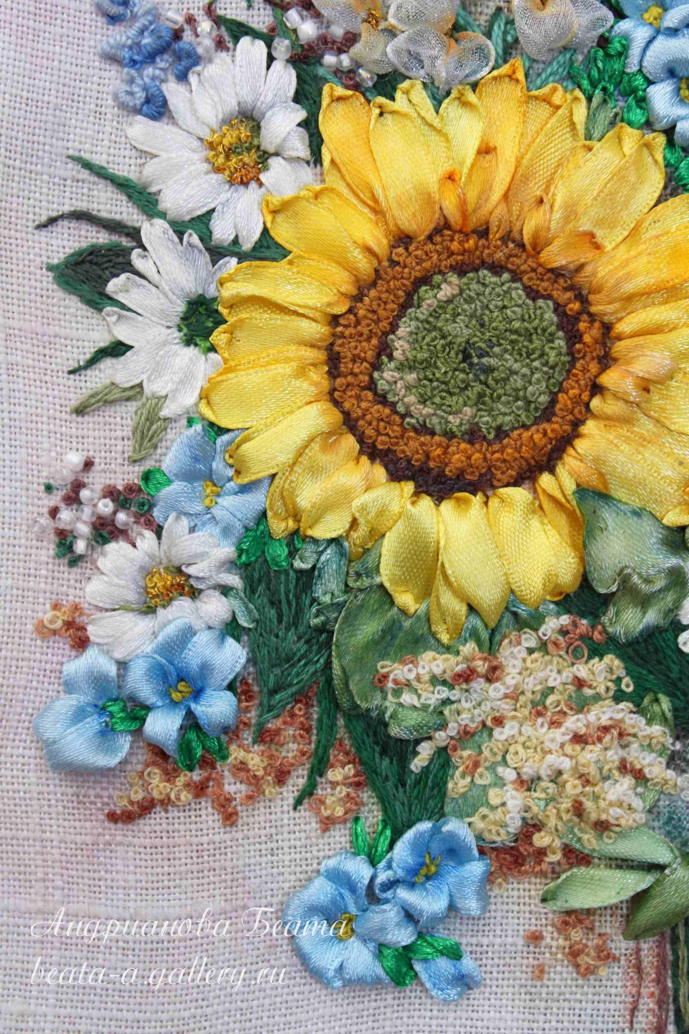 ribbon embroidery, Beata Andrianova, Russia,  http://beata-a.gallery.ru/