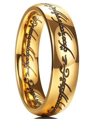 Lord Of The Rings Wedding Band Gold Plated Wedding Band Titanium Rings For Men Mens Wedding Bands