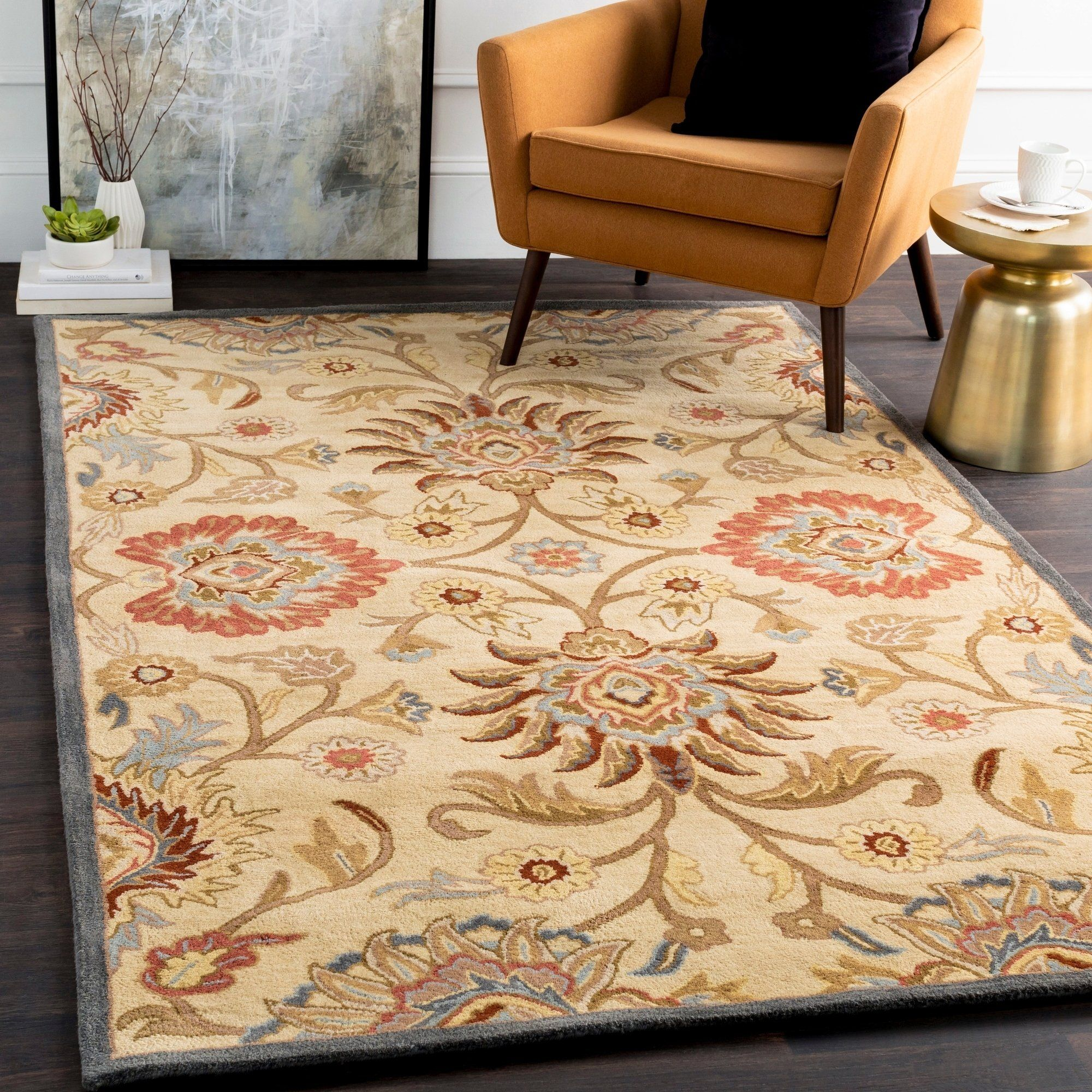 Hand Tufted Traditional Wool Area Rug 5 X 6 3 Shaped Wheat