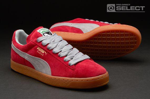 3ea88e2d472199 Puma Trainers - Suede Classic Eco - Mens Trainers - Jester Red - Limestone  Grey