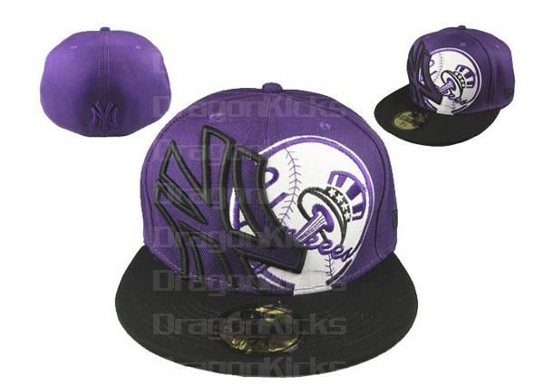 ff44f955a New Era 59 Fifty MLB New York Yankees logo Fitted Purple/Black Hats ...