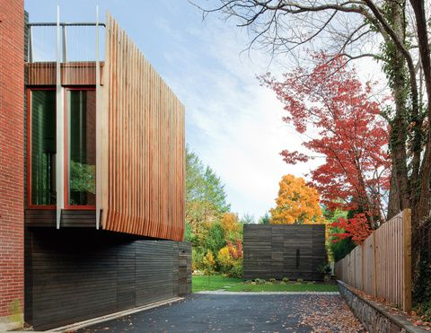 Wooden Newton House Massachusetts By Nadaaa The Architects Plotted The Striated Addition With The Owners Primary Goal In Mind Facade Exterior Architecture