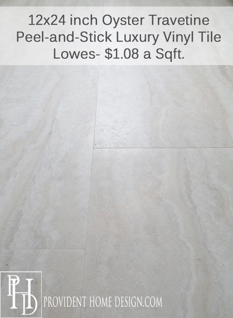 Lowes Style Selections Oyster Travertine Vinyl Tiles Peel Stick Her Blog And Other Links Are Good Too Has Pi Bathroom Makeover Flooring Luxury Vinyl Tile