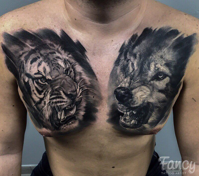 Amazing Chest Piece Wolf Healed Tiger Fresh Artist Anastasiya Www Holytrinitytattoos Co Uk Holytr Chest Tattoo Chest Piece Tattoos Chest Tattoo Men