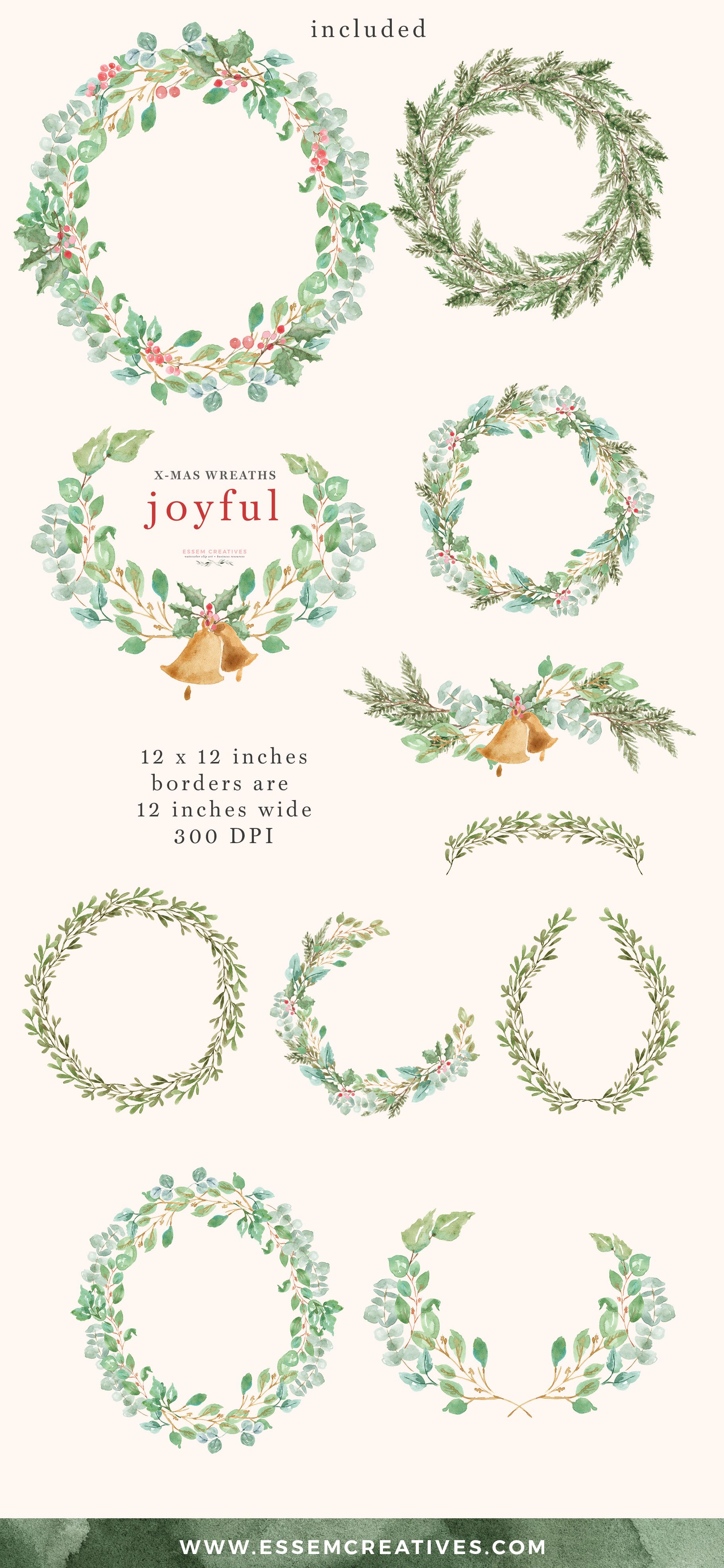 Watercolor Christmas Wreath Clipart for Holiday Cards