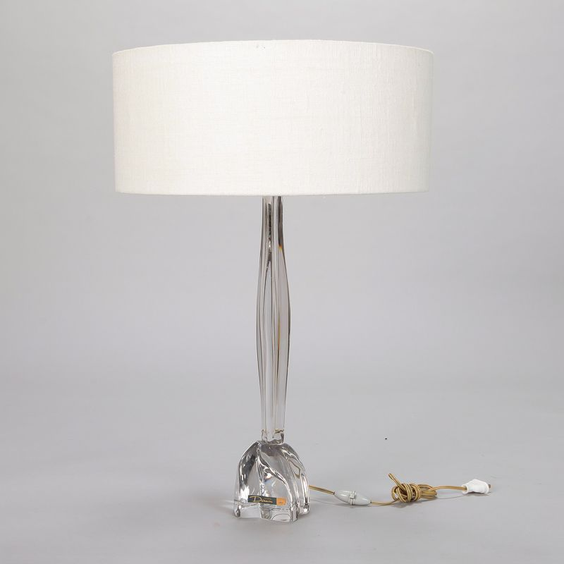 Tall Mid Century Daum Clear Glass Table Lamp with Shade ...