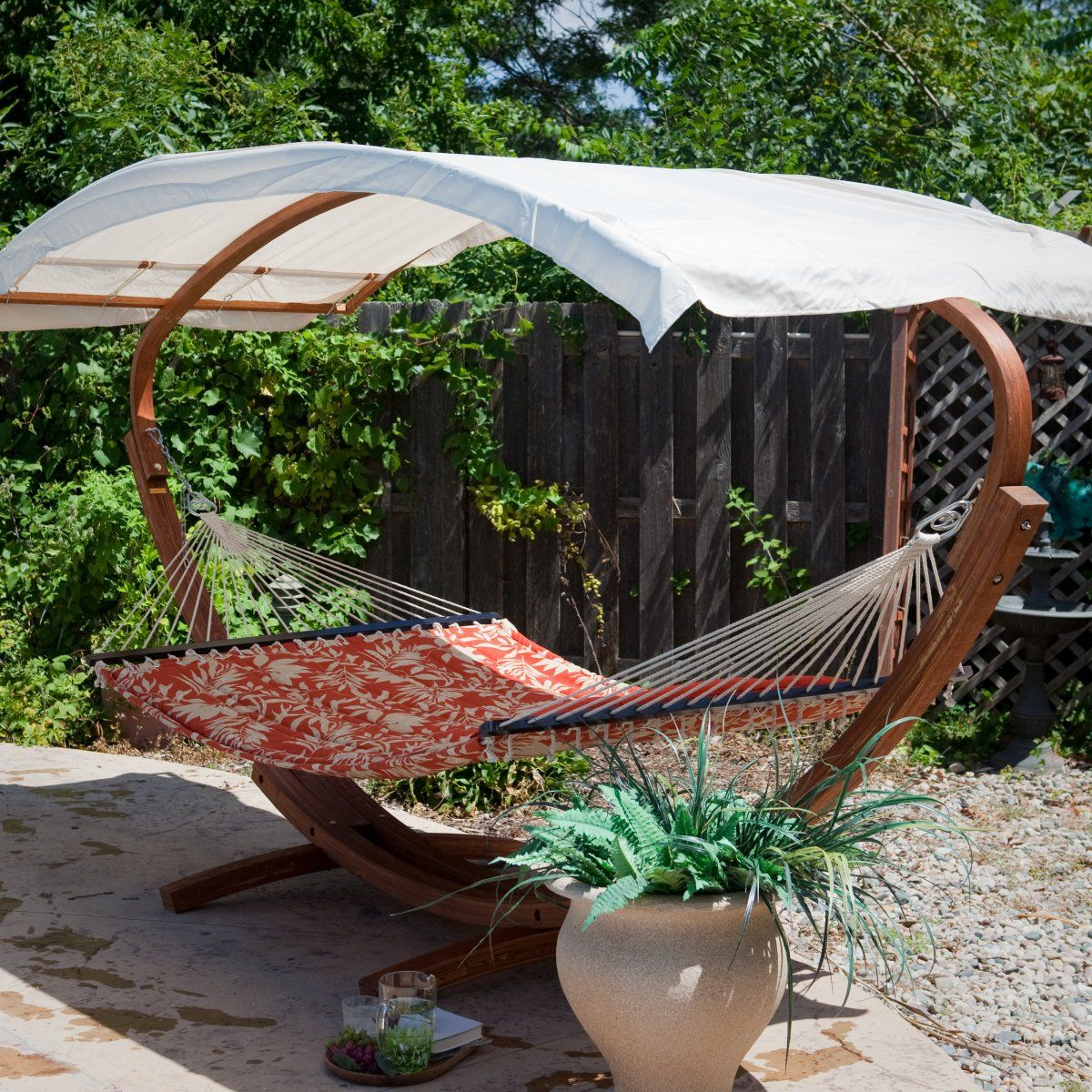 Bliss Hammocks Wooden Arc Hammock Stand With Canopy For