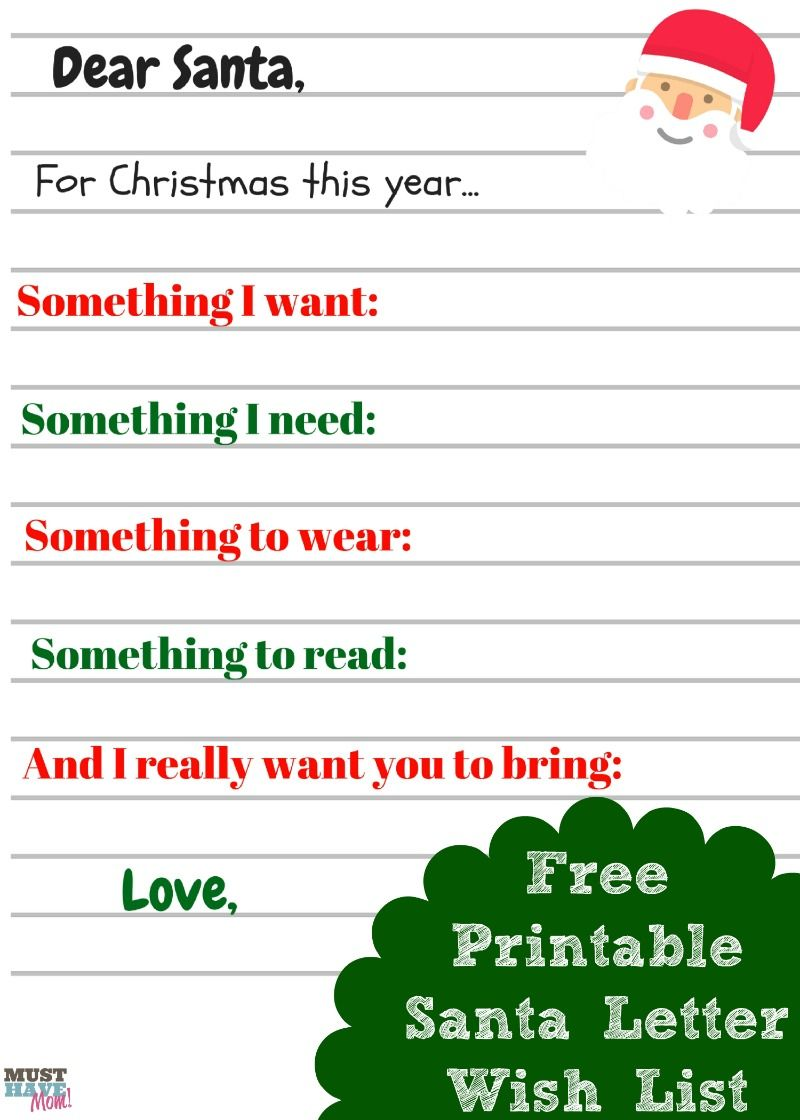 Free Printable Kids Christmas Wish List Santa Letter | Must Have Mom ...