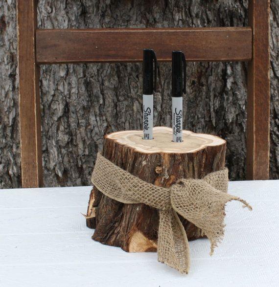 Tree Themed Wedding Ideas: Rustic Wedding Decor, Pen, Marker Holder, Tree Stump, 2