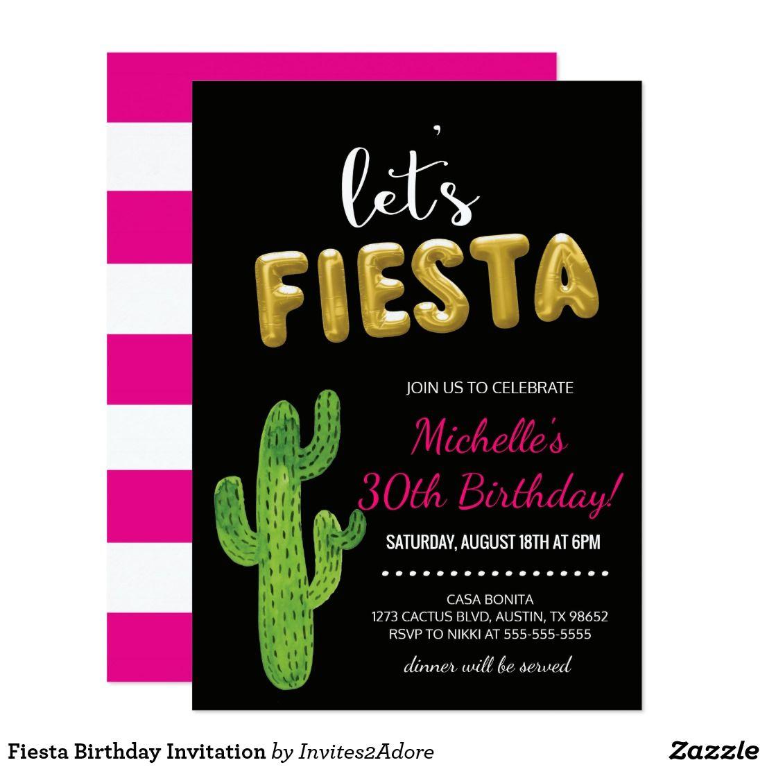 Fiesta Birthday Invitation Let\'s help celebrate the birthday girl ...