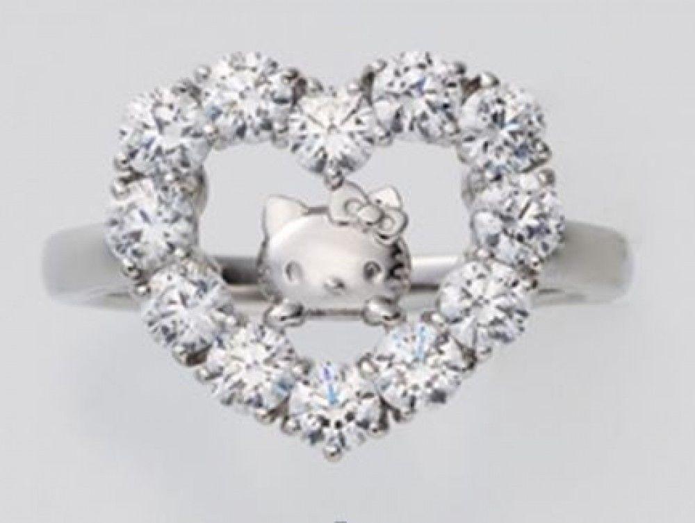 de762f578 Hello Kitty Face Heart CZ Silver Ring Fashion Jewelry Sanrio from Japan  J2023 | eBay