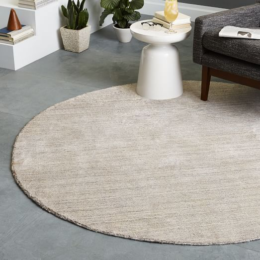Hand Loomed Shine Rug Round West Elm Round Rugs Modern Area