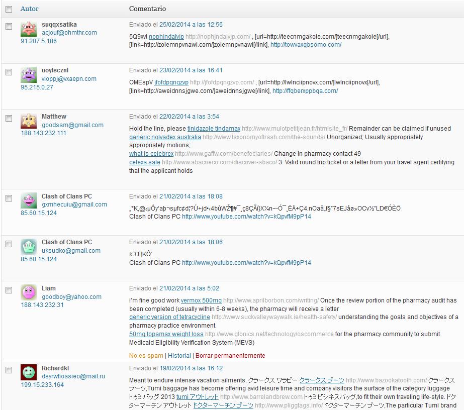 Spam en el blog Blog, Negocios por Comentarios