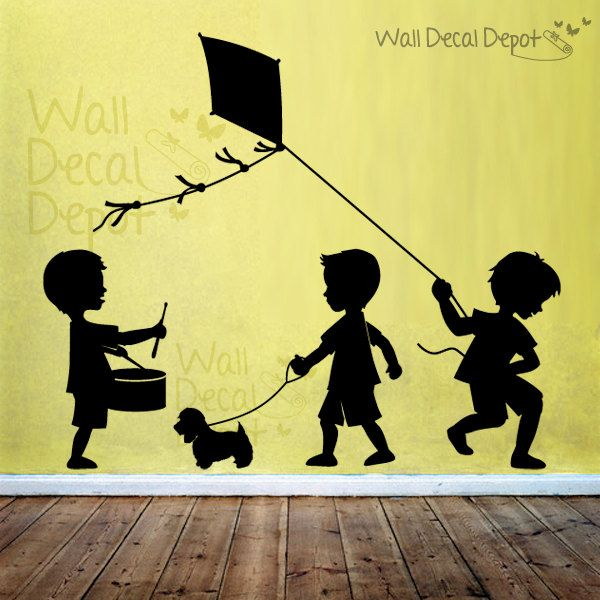 Children Wall Decal Kids Wall Sticker - Little Boys silhouette ...