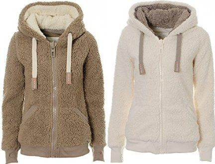 Ladies Womens Soft Teddy Hooded Jumper Hoody Jacket Coat with Pocket