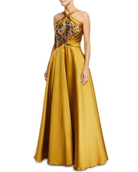 fe44c19552 Marchesa Crisscross Halter Beaded Ball Gown in 2019 | Dress and Gown ...