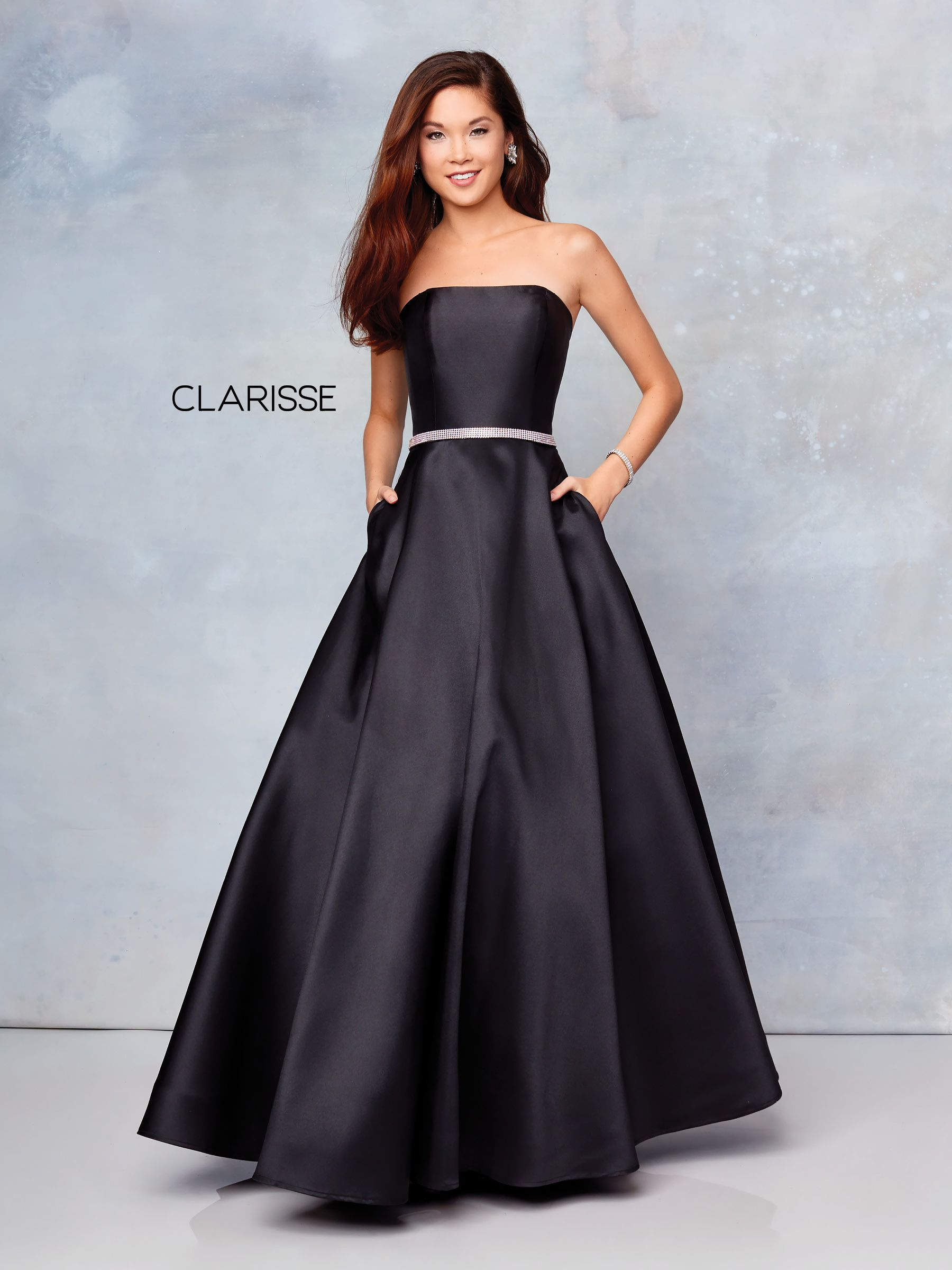 3739 Black Mikado Strapless Prom Ball Gown With A Detailed Belt Prom Dresses With Pockets Gowns Black Prom Dresses [ 2400 x 1800 Pixel ]