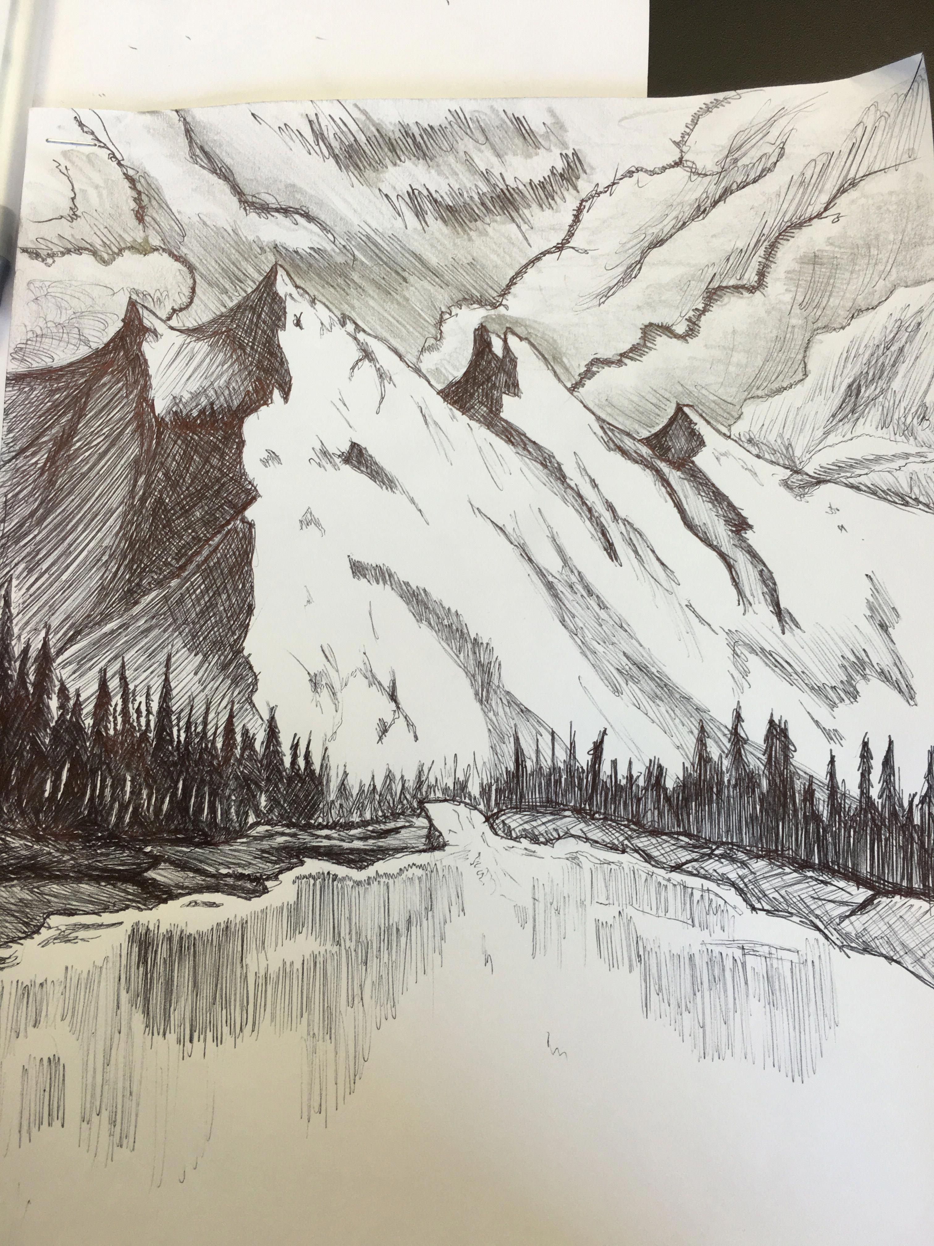 #mountains #drawing | Landscape pencil drawings, Nature ...