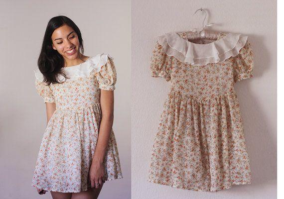 Vintage 1990s Puff Sleeve Ruffled Dress